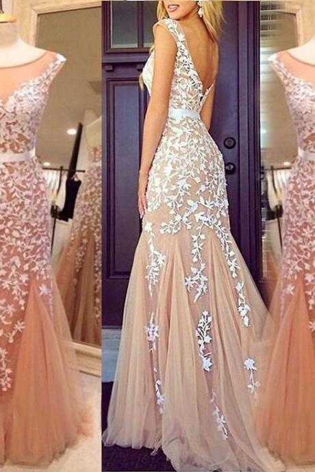 2016 Custom Made Appliques Prom Dress, Sexy Prom Dress ,Tulle Prom Dress ,Cocktail Dress, Long Prom Dresses ,Floor-Length Prom Dresses ,Prom Dresses