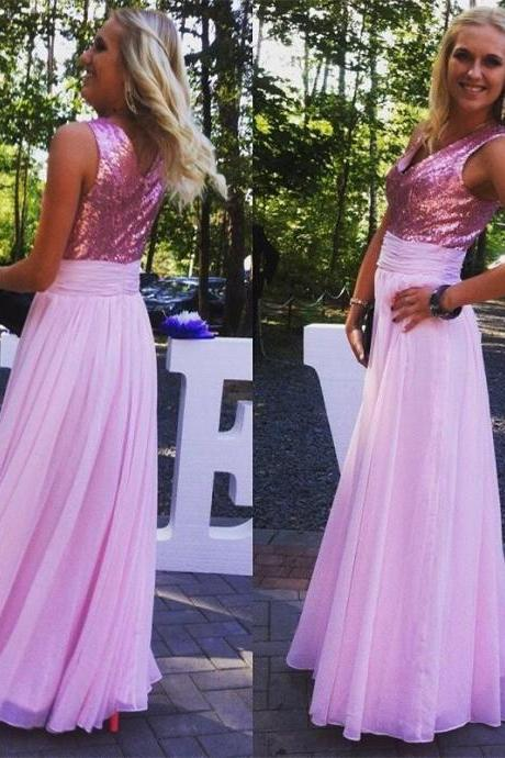 2016 New Cheap Pink Bridesmaid Dresses Chiffon Zipper Back Sequins Floor Length Formal Party Dresses for Wedding,Prom Gowns