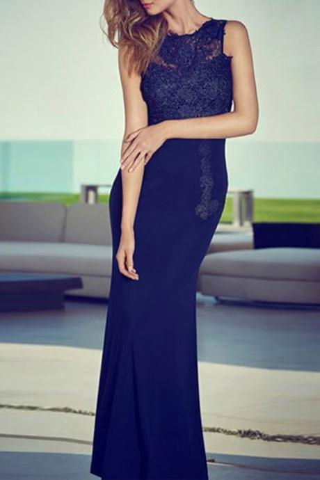 Hote sale Sexy Mermaid/Trumpet prom dressBridesmaid Dresses Chiffon Navy blue Party Dresses Floor length motherl dress Mermaid/Trumpet Lace Prom Dresses LACE Home coming Dresses Celebrity Dresses