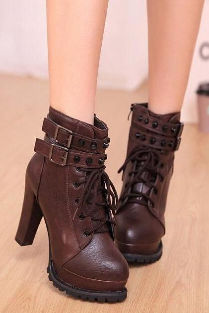 British short boots, belt buckle riveting high-heeled boots, Martin-brown