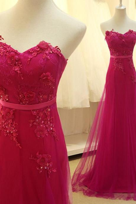 Pretty Rose-Red Chiffon Long Prom Dress, With Applique Evening Gowns ,Delicate Formal Dresses