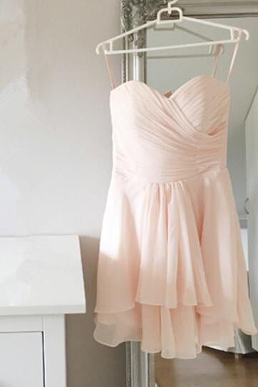 2015 Sweetheart Straps Short Light Pink Bridesmaid Dresses,Lovely Homecoming Dress,Simple Bridesmaid Dresses /Cocktail Dress/ Graduation Dress