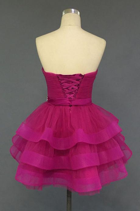 Lovely Ball Gown, Tulle Sweetheart Short Prom Dresses, Homecoming Dresses ,2016 Formal Dresses