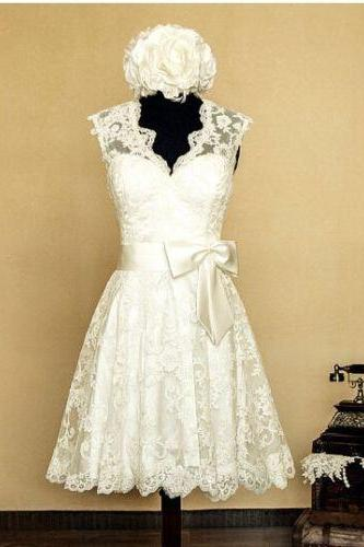 Custom Sexy Short Lace White Ivory Bridal Gowns Wedding Dress Bridal Gowns