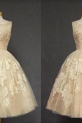 Tea Length Champagne Lace Wedding Party Dresses Hot Sale Prom Dress