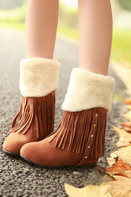 Adorable Brown Fringed And Rivet Design Warm Winter Boots 0B6MG5OXNDYTBL4N7UGNJ JFMOJ05PSVC