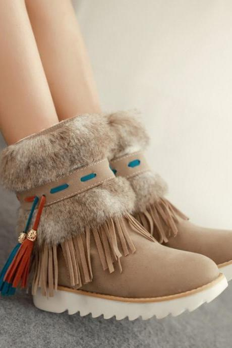 Cute Faux Fur And Tassel Design Winter Boots In Apricot GQU69KOTM7K59OU8K9J1H LHN1YOFP54Z