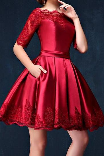 Charming Homecoming Dress, Satin Homecoming Dres, Lace Homecoming Dress, Half-Sleeve Homecoming Dress