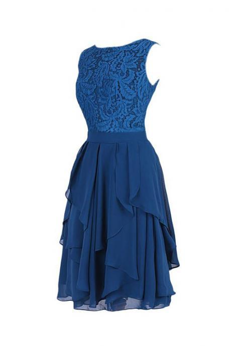 New style royal blue chiffon with lace top short homecoming dress,boat neck sleeveless cocktail dresses,V back knee length short dress prom,graduation dresses