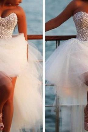 High Quality Graduation Dress, High/Low Graduation Dress, Organza Graduation Dress ,Sweetheart Graduation Dress