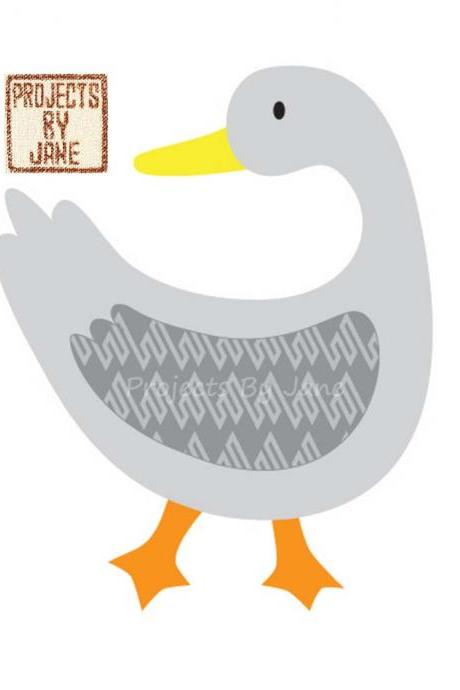 Duck Looking Back applique template - PDF applique pattern