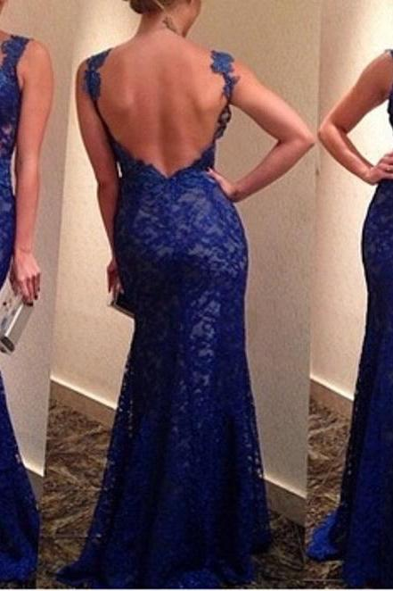 Long Sleeveless Prom Dress, Lace Prom Dress, Evening Dresses, Royal Blue Prom Dress ,Mermaid Prom Dress, Backless Evening Dresses