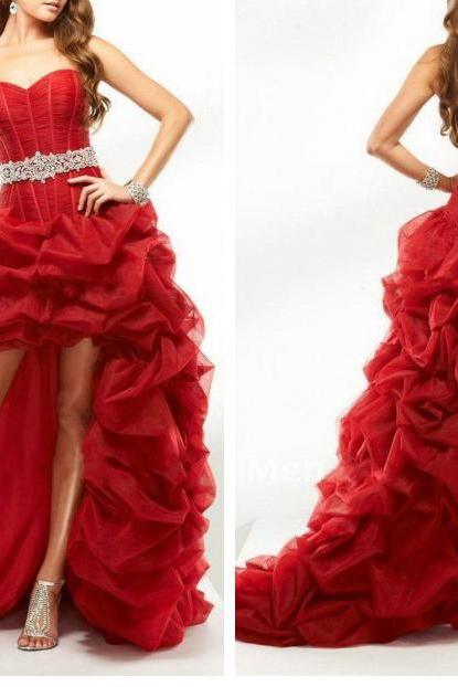 High Low Red Prom Dresses ,Custom Beads Belt Organza Prom Gown Long Formal Dresses, Front Short Long Back Formal Gown, Sweetheart Evening Gown