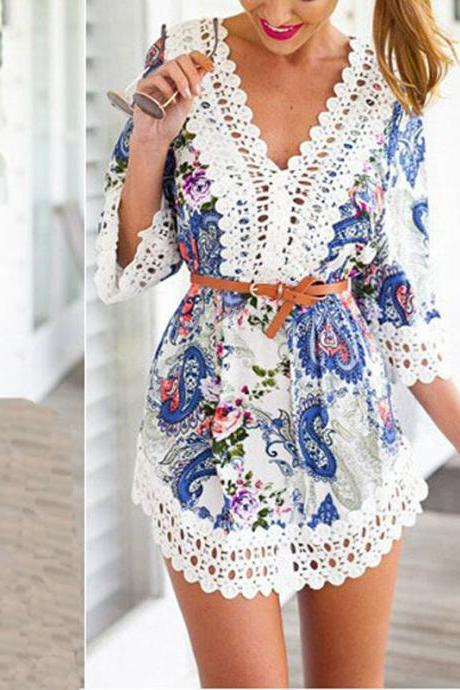 Women's Summer Sexy Lace Floral Casual Short Evening Party Mini Dress