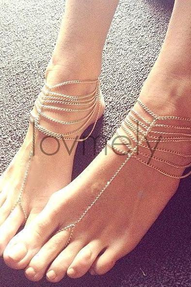 MULTI-STORY CHAIN FASHION ANKLET ZC816CB