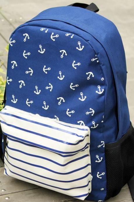 New Anchor Striped Print School Bag&Backpacks-Navy