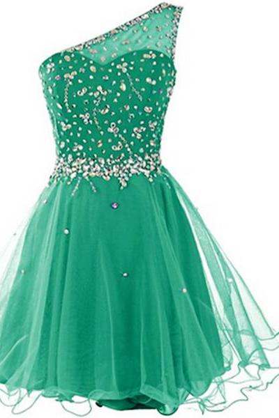 Real Made One Shoulder Homecoming Dresses, Beading Graduation Dresses, Homecoming Dresses, Short/Mini Homecoming Dress