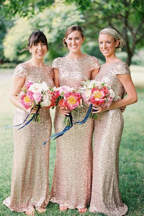 Custom Made Champagne Gold Dress Long Bridesmaid Dresses Sequined Short Sleeve Floor Length Bridesmaid Dress 2015 Prom Dress Wedding Party Dress Cheap 2015 Bridesmaid Gown Real Image