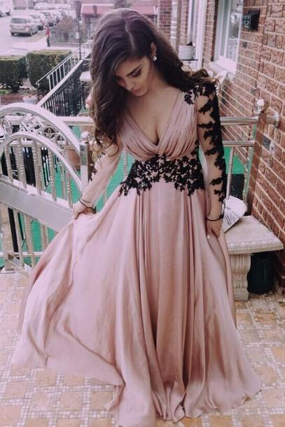 V-Neck Evening Dress, Prom Dresses, For Prom Appliques Satin Prom Dress, Long-Sleeve Prom Dress Dresses, For Evening Sexy Floor-Length Prom Dresses