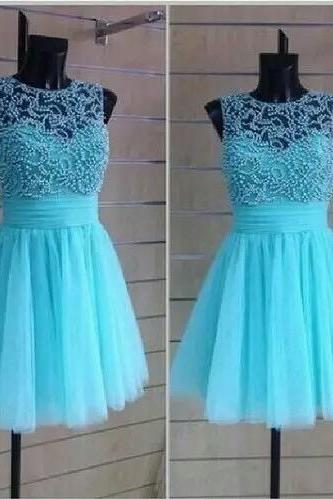 Mint tulle dress with pearl,O-neck sleeveless knee length formal cocktail dress,most popular graduation dress,sexy homecoming dresses
