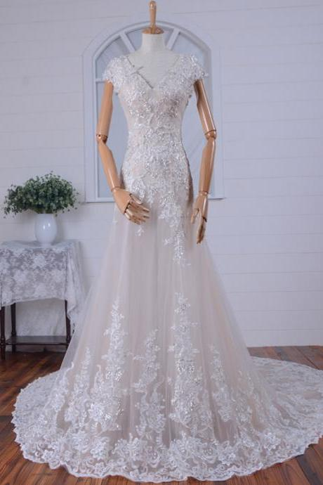 New Style Tulle V-neck Appliques Open Back Prom Dress with Chapel Train Wedding Dresses Evening Dress