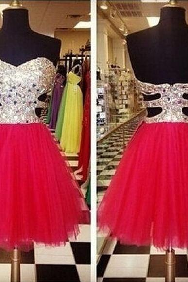 Strapless Beading Short Homecoming Dress ,Party Gowns For Women