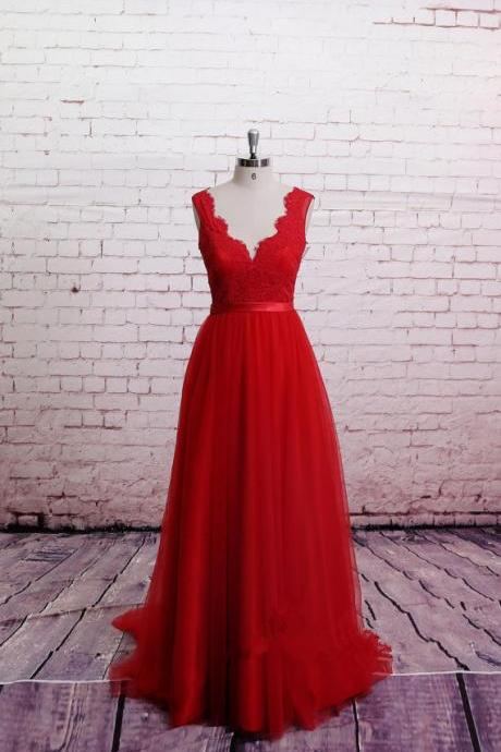 Handmade High Quality Classic Lace Red Prom Dress, Brush Train Prom Dress ,A-Line Red Bridesmaid Dress, Sweetheart Party Dresses, Formal Dresses