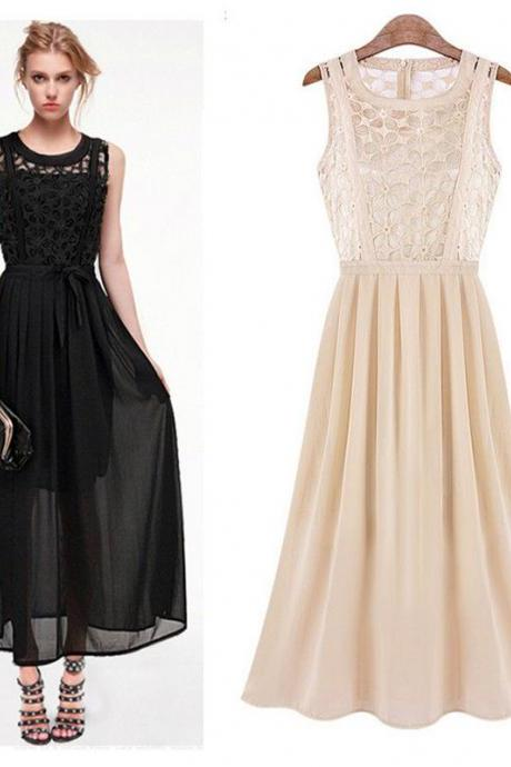 Sexy Women Summer Casual Party Evening Cocktail Long Maxi Chiffon Lace Dress