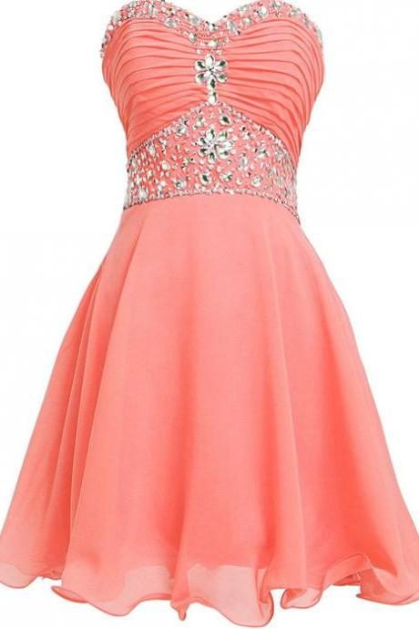 Sweetheart Homecoming Dresses ,A-Line Beading Graduation Dresses, Homecoming Dresses, Short/Mini Homecoming Dress