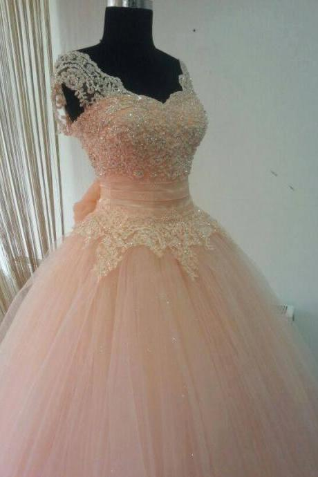Real Made Beading And Appliques Princess Quinceanera Dresses, Lace-Up Tulle Dresses ,Quinceanera Dresses, Prom Dresses, The Charming Prom Dress