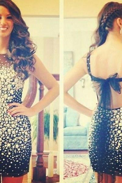 2015 luxury Eveing dresses Homecoming Dress BLACK PROM DRESS BLUE Backless Short A-Line DRESSES MINI PARTY DRESSES