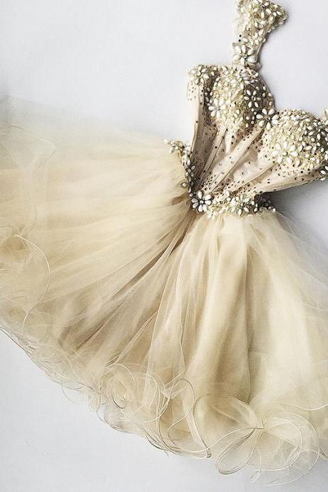 2017 luxury Eveing dresses Homecoming Dress champagne PROM DRESS Short A-Line DRESSES MINI PARTY DRESSES