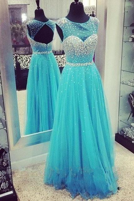 2017 luxury Eveing dresses SEXY Chiffon Tulle A-Line Prom Dress long A-Line DRESSES BLUE Evening PARTY DRESSES