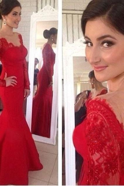 High Quality V-Neck Sexy Backless Prom Dress RED LACE Mermaid/Trumpet EveNing dresses Homecoming Dress PROM DRESS LONG DRESSES A-Line DRESSES PARTY DRESSES