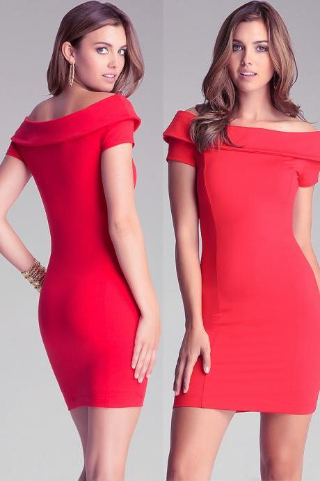 Off The Shoulder Red Bodycon Mini Dress
