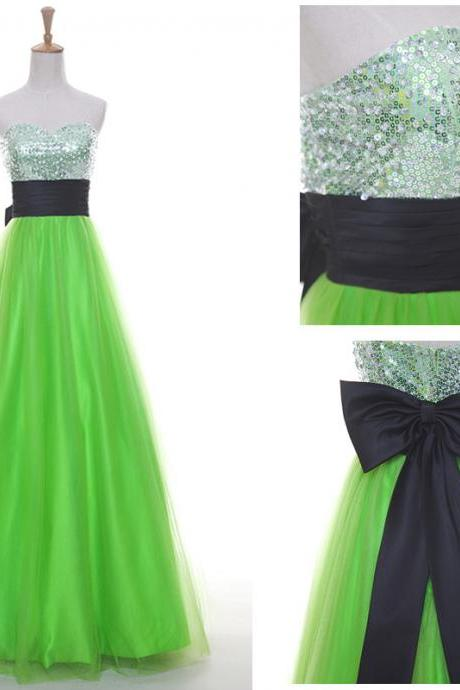 Mint Prom Dress, 2016 Prom Dress, Tulle Prom Dress, Long Prom Dress, A-Line Prom Dress ,Sweetheart Prom Dress, Beaded Prom Dress, Fashion Prom Dress ,Celebrate Dress