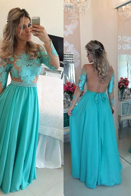 Long Sleeve Applique Lace Blue Chiffon Prom Dress With Pearls Party Dress For Women