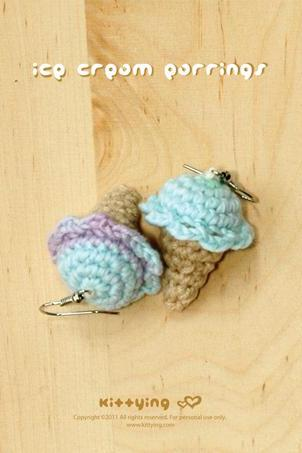Crochet Ice Cream Cone Earrings PATTERN, SYMBOL DIAGRAM (pdf) by kittying