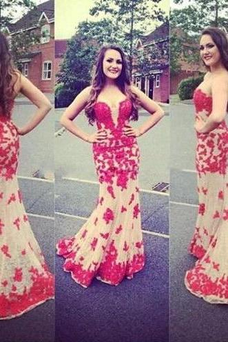 Sweetheart Long Mermaid Prom Dress Applique Evening Dress Party Dress
