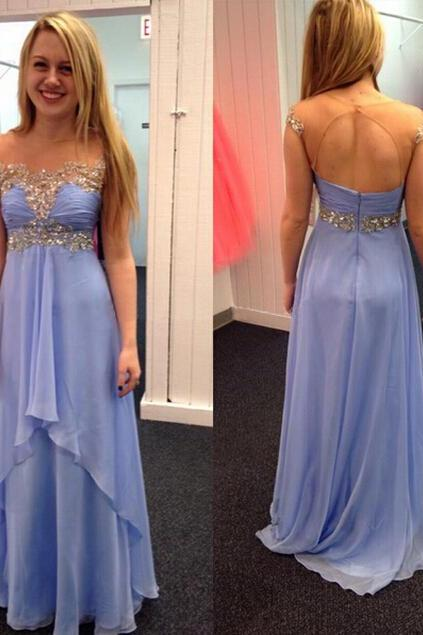 Long Chiffon Beading Prom Dress Evening Dress Party Dress