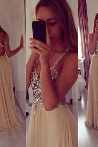 Long Chiffon Prom Dress,Beading Evening Dress,Party Dress For Women
