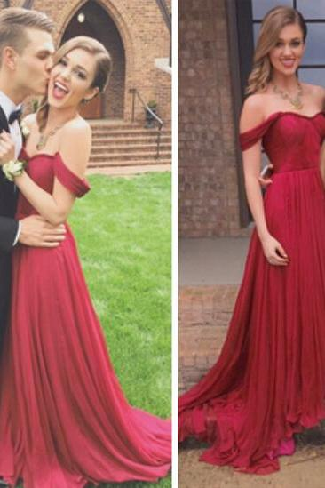 Red Chiffon Strapless Sweetheart Neckline Prom Dress,Evening Dress