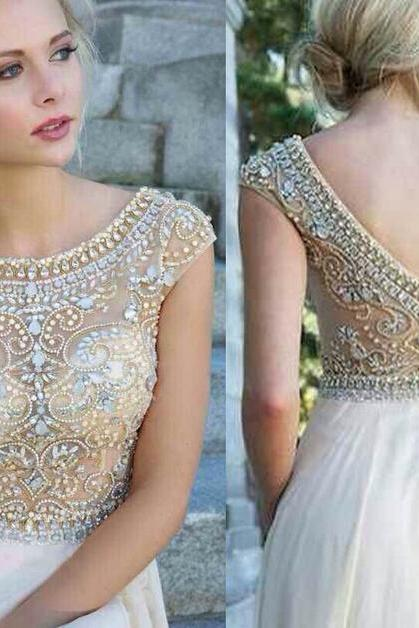 Beading Long Chiffon Prom Dress Women Evening Dress