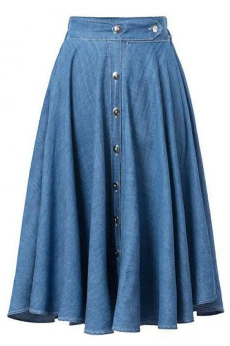 Denim Knee Length A-Line Skirt Featuring Button Front Detailing