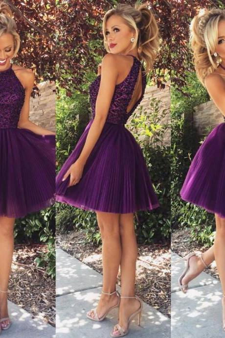 Dark purple tulle halter knee length A line beaded short homecoming dress,elegant dress prom short,open back sexy cocktail dresses