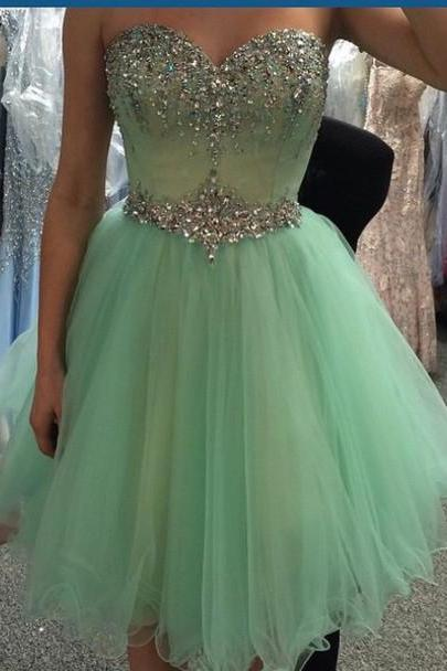 Pale green tulle dress,beaded sweetheart neck short prom dress,formal evening dress,knee length a line homecoming dresses