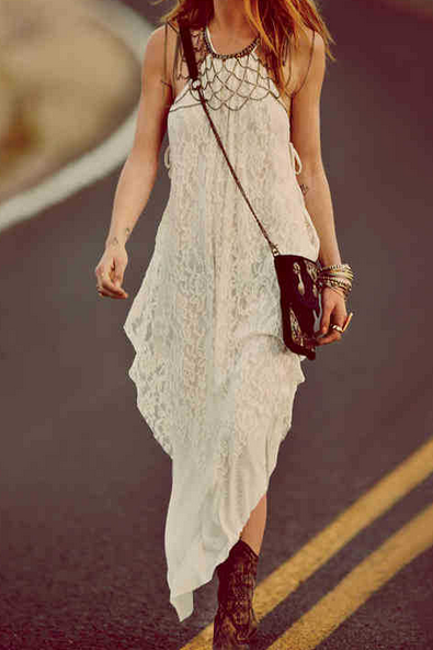 Irregular Sling Lace Dress