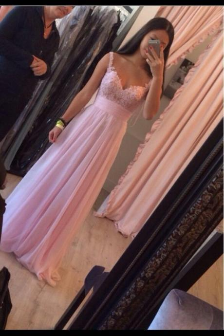 Elegant Handmade Lovely Pink Floor Length Chiffon Prom Dresses, 2016 With Applique Pink Prom Dresses ,Pink Bridesmaid Dresses ,Evening Dresses