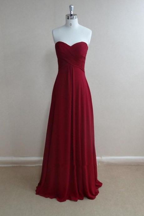 Simple And Pretty Burgundy Prom Dresses, 2016 High Quality Prom Gown ,2016 Bridesmaid Dresse ,Evening Dresses,Formal Dresses