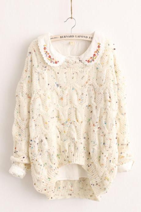 Lovely round neck long-sleeved knit sweater SF91006JL
